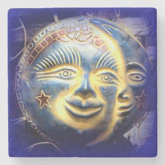 sun face/ moon face marble stone coaster