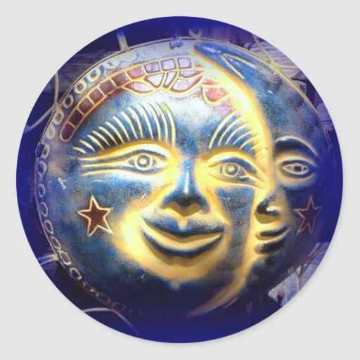 sun face moon face sticker