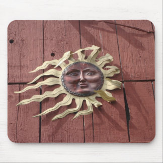 Sun Face on Red Barn Mouse Mat