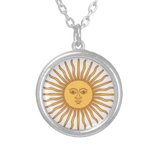 Sun Face with Rays Sol de Mayo Gold on White Silver Plated Necklace