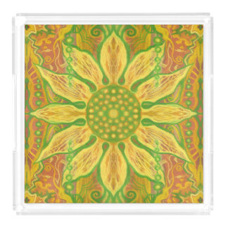 Sun Flower bohemian floral art yellow green orange