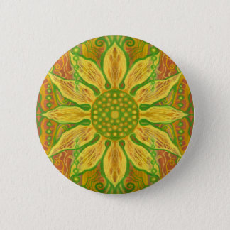 Sun Flower bohemian floral art yellow green orange 6 Cm Round Badge