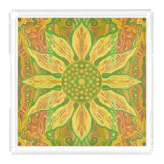 Sun Flower bohemian floral art yellow green orange Acrylic Tray