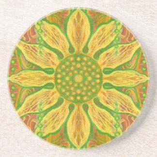 Sun Flower bohemian floral art yellow green orange Drink Coasters