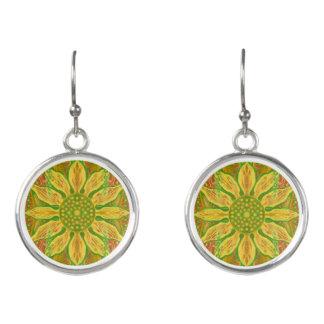Sun Flower bohemian floral art yellow green orange Earrings