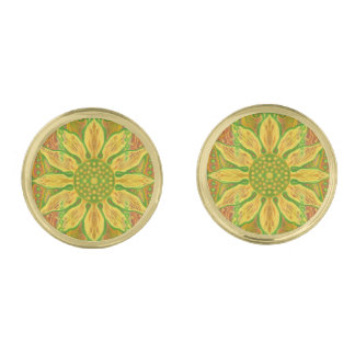 Sun Flower bohemian floral art yellow green orange Gold Finish Cufflinks