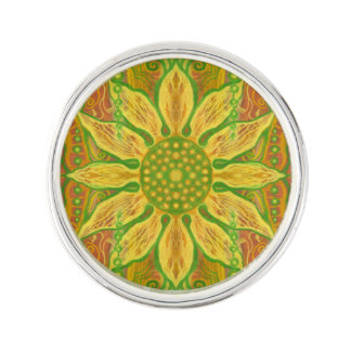 Sun Flower bohemian floral art yellow green orange Lapel Pin
