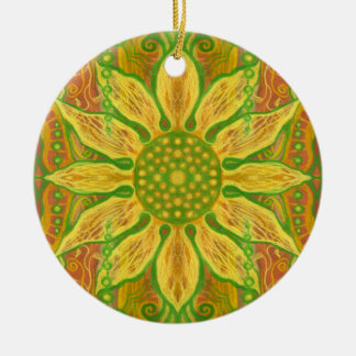 Sun Flower bohemian floral art yellow green orange Round Ceramic Decoration