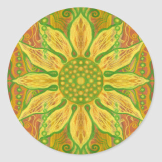 Sun Flower bohemian floral art yellow green orange Round Sticker
