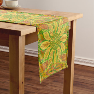Sun Flower bohemian floral art yellow green orange Short Table Runner