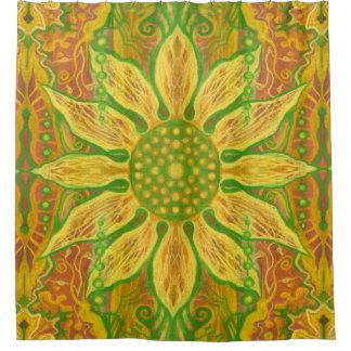 Sun Flower bohemian floral art yellow green orange Shower Curtain