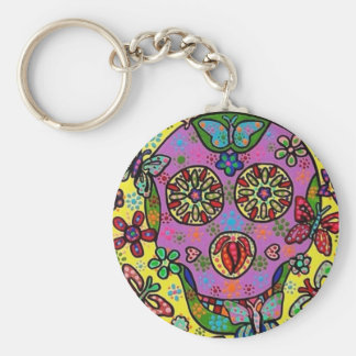 Sun Flower Butterfly Sugar Skull Basic Round Button Key Ring