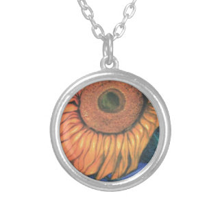 Sun Flower in Gentle Breeze Round Pendant Necklace