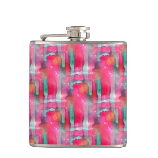 Sun glare abstract painted watercolor hip flask