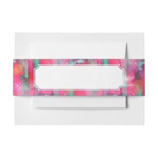 Sun glare abstract painted watercolor invitation belly band