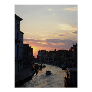 Sun going down in Venice Poster