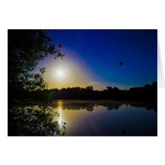 Sun Going Down Over UEA Lake, Norwich, England Greeting Card