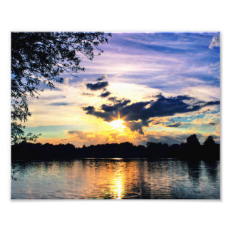 Sun Going Down Over UEA Lake, Norwich, England Photo Print
