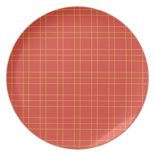 SUn gold and cherry red plaid #bakeacherrypie Plate