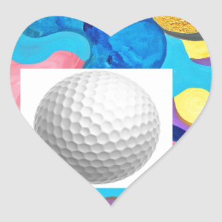 Sun Golf Ball Heart Sticker