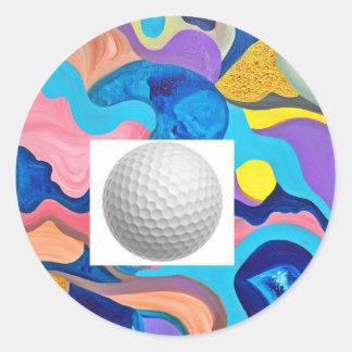 Sun Golf Ball Round Sticker