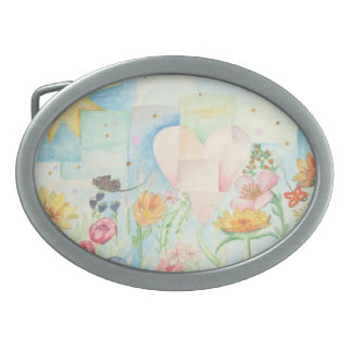 Sun, heart and Flower field watercolor Painting Belt Buckle