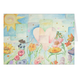 Sun, heart and Flower field watercolor Painting Greeting Card