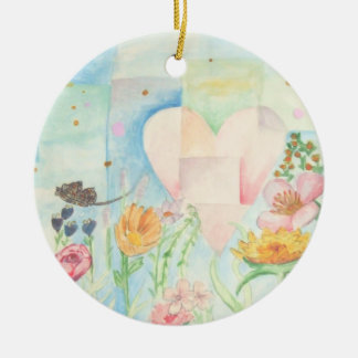 Sun, heart and Flower field watercolor Painting Round Ceramic Decoration