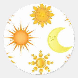 Sun icons set classic round sticker