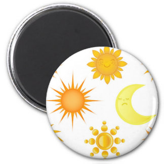 Sun icons set fridge magnets