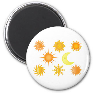 Sun icons set 6 cm round magnet