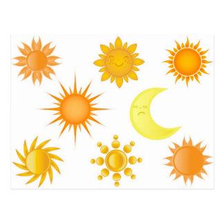 Sun icons set postcard