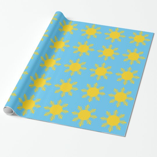 Sun in a sky wrapping paper