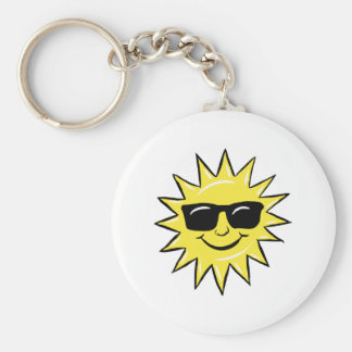 Sun in glasses basic round button key ring