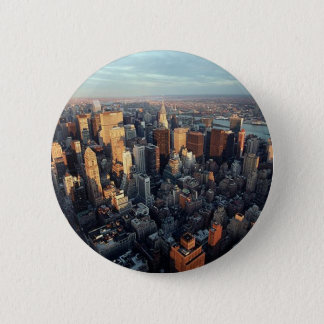 Sun Is Setting On New York City City-scape View 6 Cm Round Badge