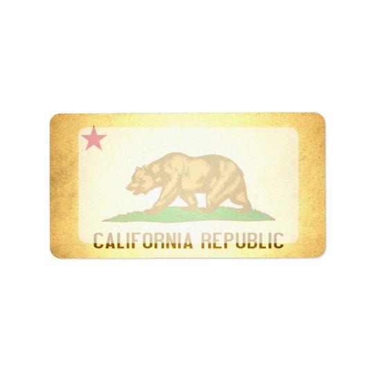 Sun kissed California Flag Label