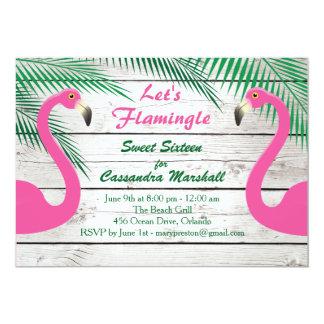 Sun Kissed Let's Flamingle Sweet Sixteen 13 Cm X 18 Cm Invitation Card