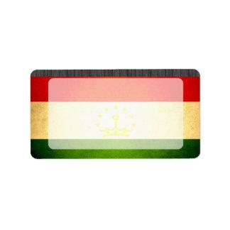 Sun kissed Tajikistan Flag Address Label