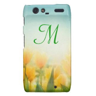 Sun Kissed Yellow Tulip Monogram Motorola Razr Cas Droid RAZR Covers