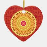 Sun Mandala Double-Sided Heart Ceramic Christmas Ornament