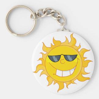 Sun Mascot Cartoon With Sunglasses Key Chains