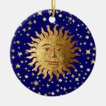 Sun, Moon and Stars Round Ceramic Decoration