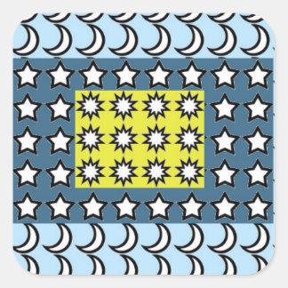 Sun, Moon and Stars Square Sticker
