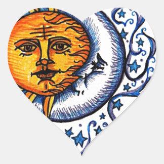 SUN MOON ART DESIGN HEART STICKER