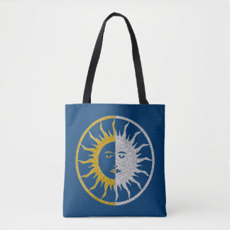 Sun & Moon - gold silver + your backgr. Tote Bag