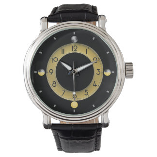 Sun & Moon Men's Vintage Black Leather Strap Watch