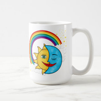 Sun Moon Rainbow Stars Basic White Mug