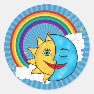 Sun Moon Rainbow Stars Round Sticker