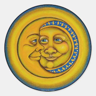 Sun & moon round sticker