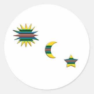 SUN MOON & STAR ROUND STICKER